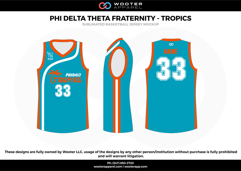 PHI DELTA THETA FRATERNITY - TROPICS sky blue orange white Basketball uniforms jerseys
