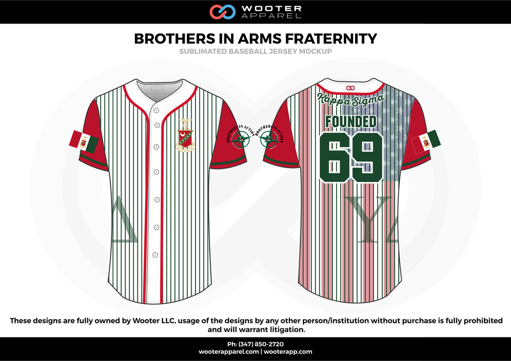 BROTHERS IN ARMS FRATERNITY red green white Baseball uniforms jerseys shirts