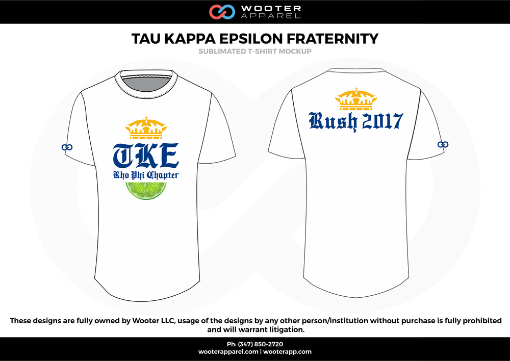 TAU KAPPA EPSILON FRATERNITY white blue yellow green sublimated uniforms t-shirts