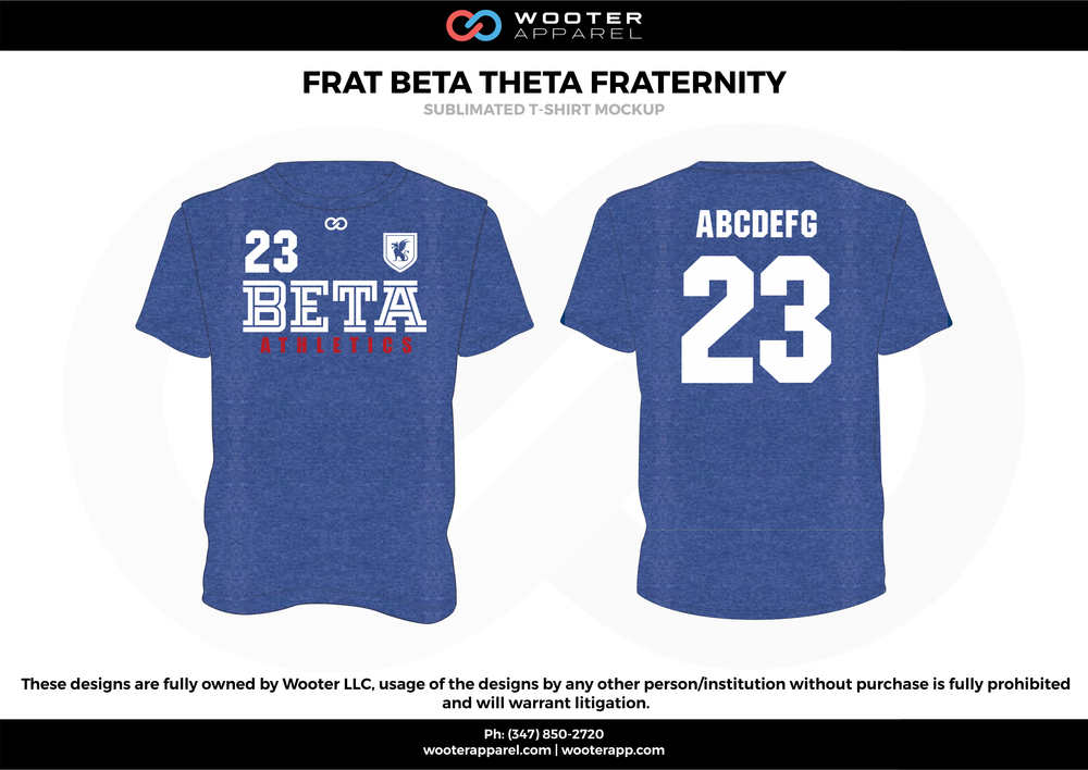 FRAT BETA THETA FRATERNITY blue white red sublimated uniforms t-shirts