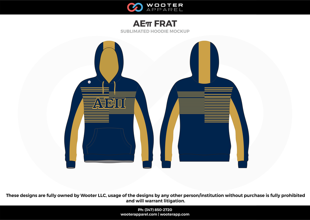 AE11 FRAT  blue yellow sublimated uniforms hoodie