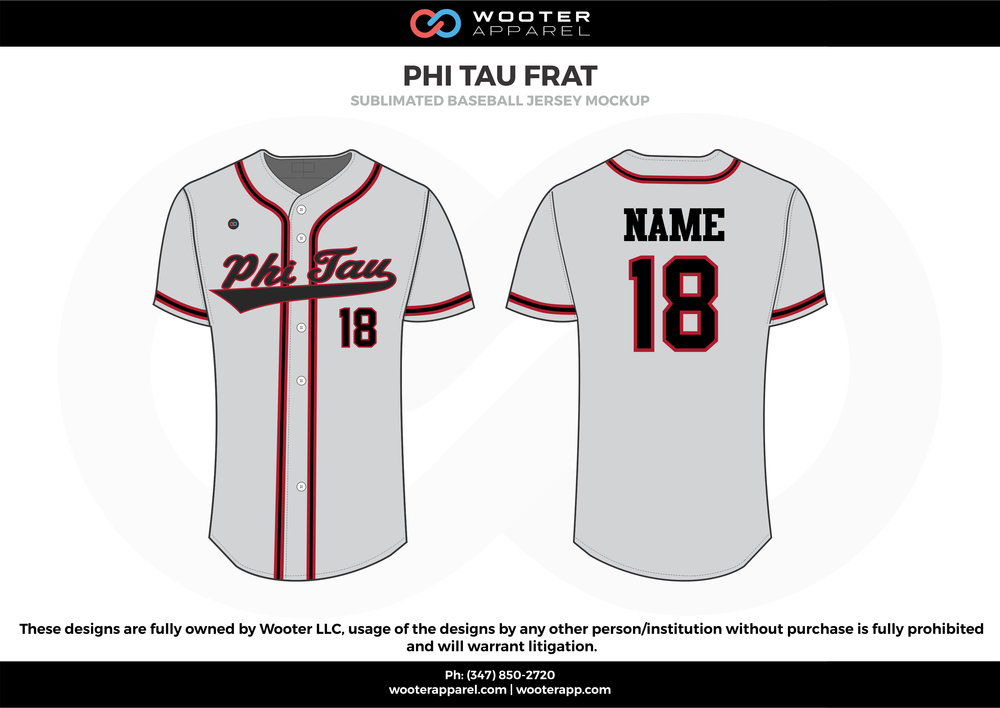 PHI TAU FRAT white red black Baseball uniforms jerseys shirts