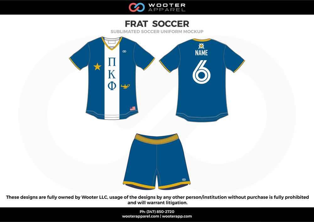 FRAT SOCCER blue white yellow Soccer uniforms jerseys shorts