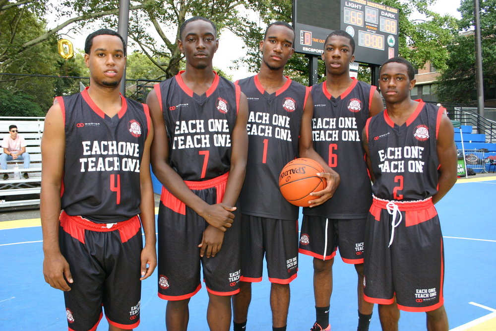 EACH ONE TEACH ONE dark gray red white basketball uniforms jersey shirts, shorts