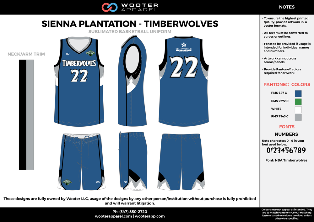 TIMBERWOLVES blue black white Basketball uniforms jerseys shorts