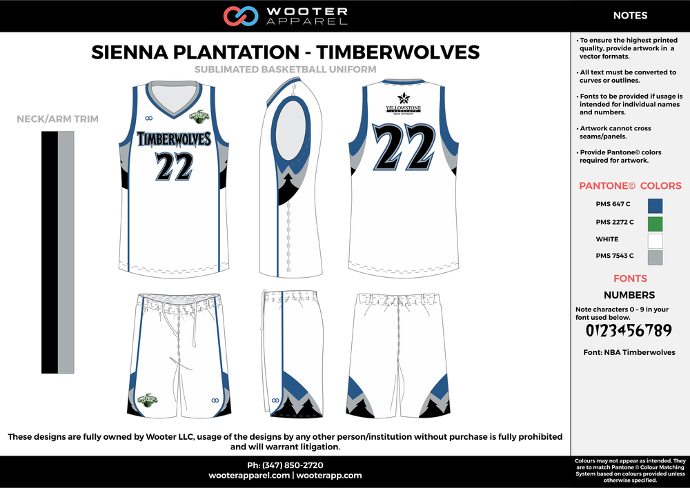 TIMBERWOLVES white blue black gray Basketball uniforms jerseys shorts