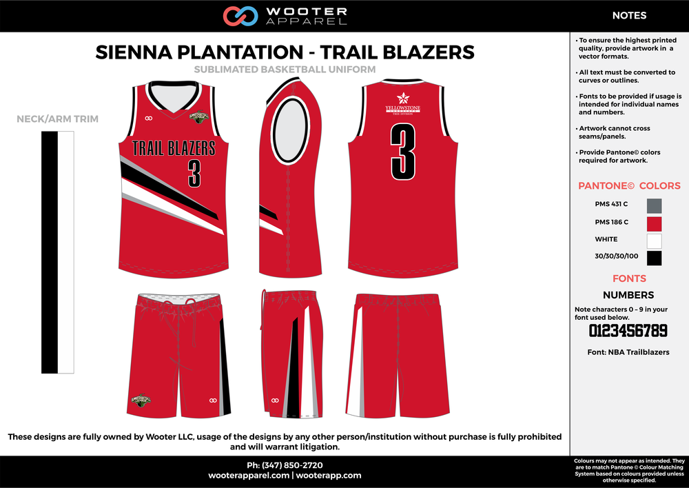 TRAIL BLAZERS red black white gray Basketball uniforms jerseys shorts