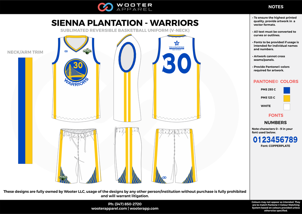 WARRIORS white yellow blue Basketball uniforms jerseys shorts