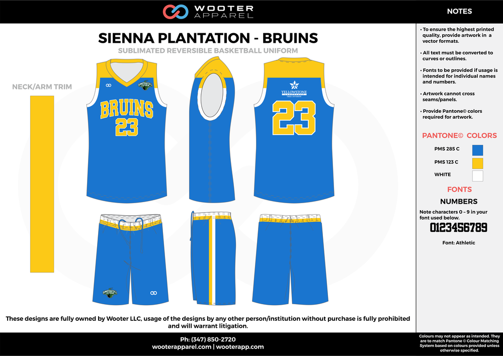 BRUINS blue yellow white Basketball uniforms jerseys shorts