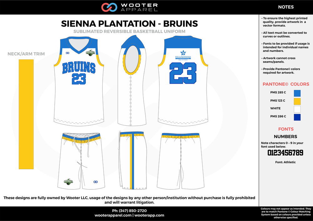 BRUINS blue white yellow Basketball uniforms jerseys shorts