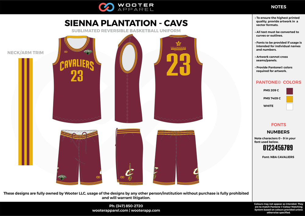 CAVS maroon yellow white Basketball uniforms jerseys shorts