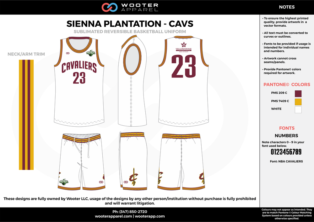 CAVS white maroon yellow Basketball uniforms jerseys shorts