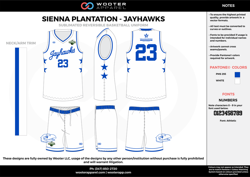 Sienna Plantation - Jayhawks - Sublimated Reversible Basketball Uniform - 2017 2.png