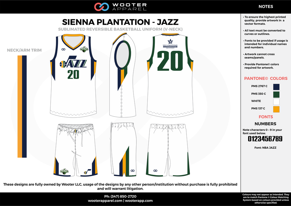 JAZZ white yellow green black Basketball uniforms jerseys shorts