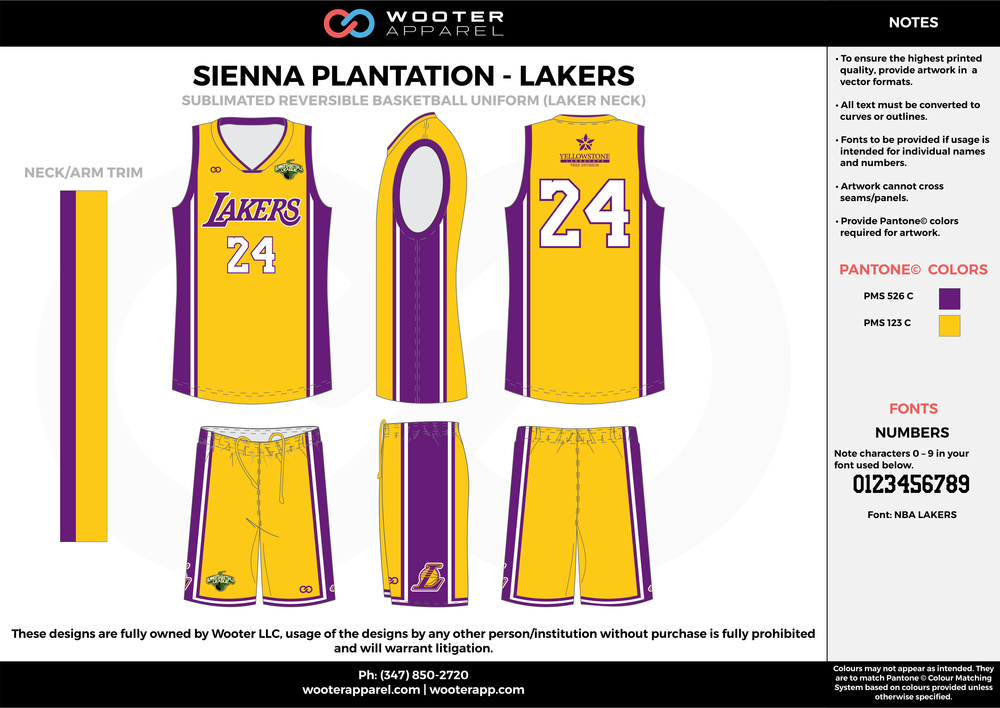 LAKERS purple yellow white Basketball uniforms jerseys shorts