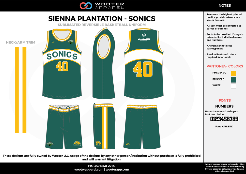 SONICS green yellow white Basketball uniforms jerseys shorts