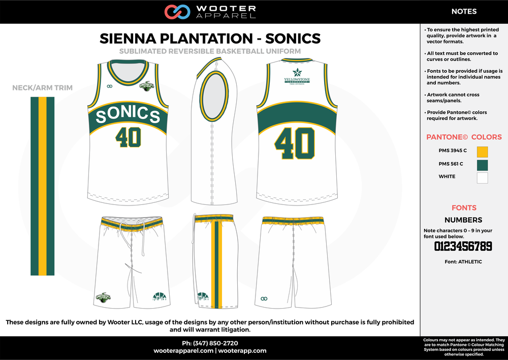 SONICS white yellow green Basketball uniforms jerseys shorts