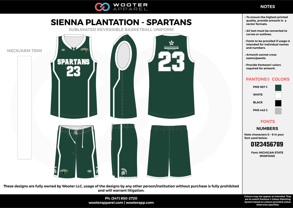 SPARTANS green gray black white Basketball uniforms jerseys shorts
