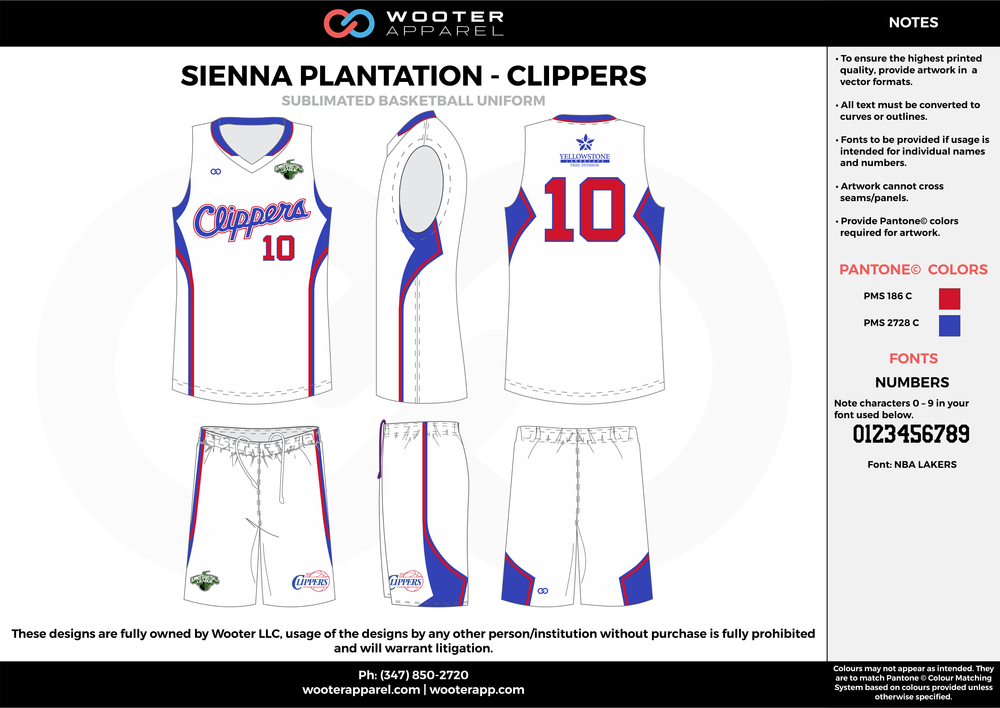 CLIPPERS white red blue Basketball uniforms jerseys shorts