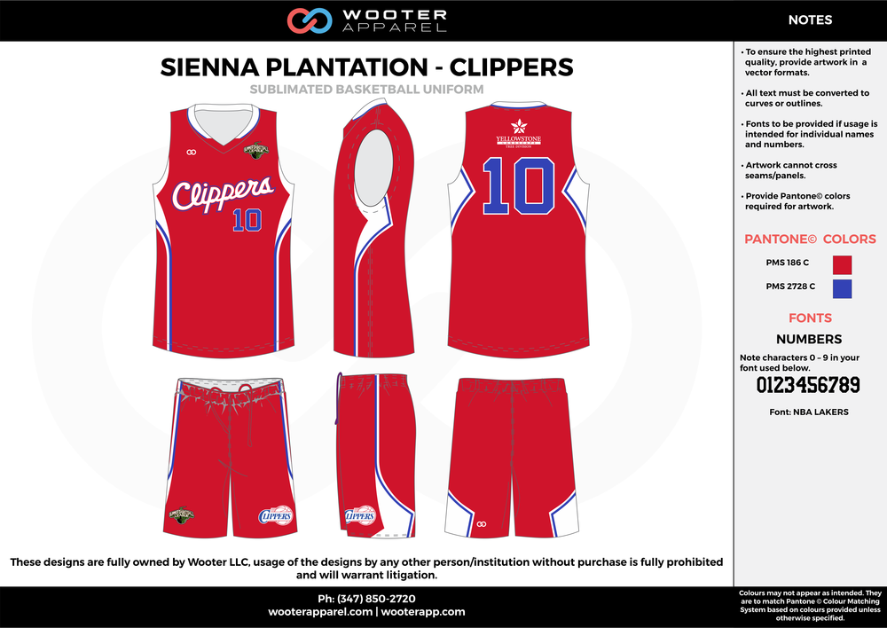CLIPPERS red blue white Basketball uniforms jerseys shorts