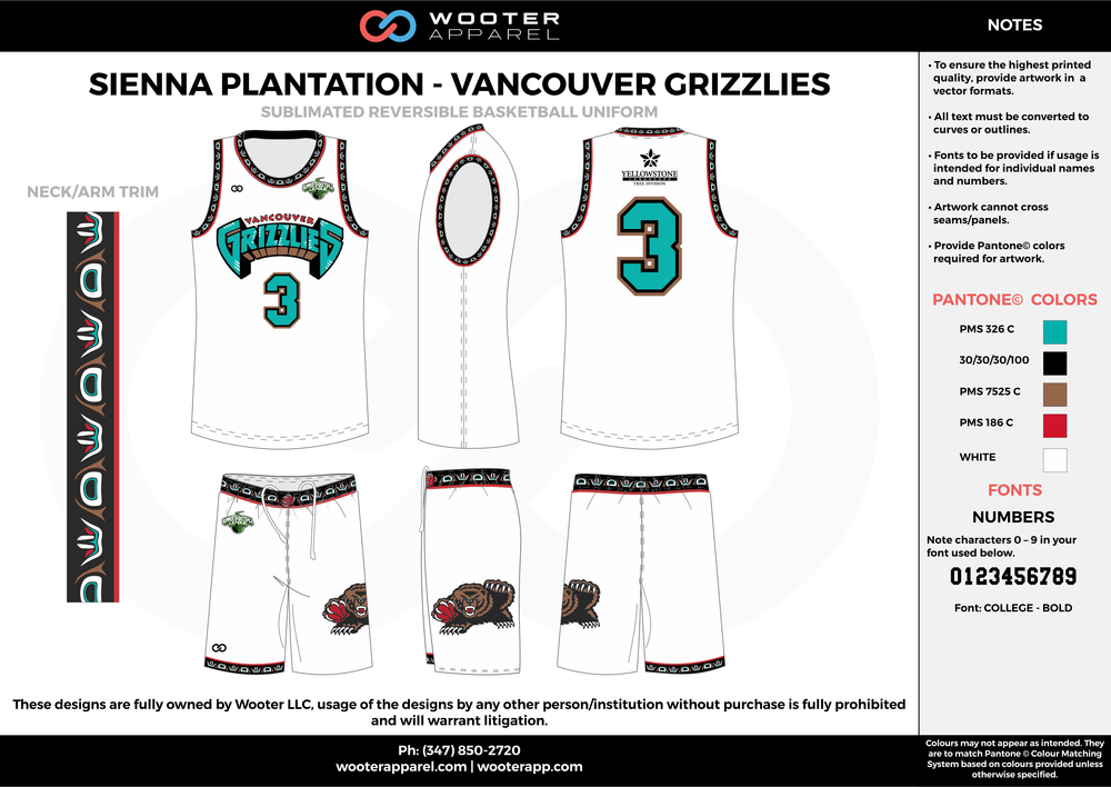 VANCOUVER GRIZZLIES white blue red brown black Basketball uniforms jerseys shorts