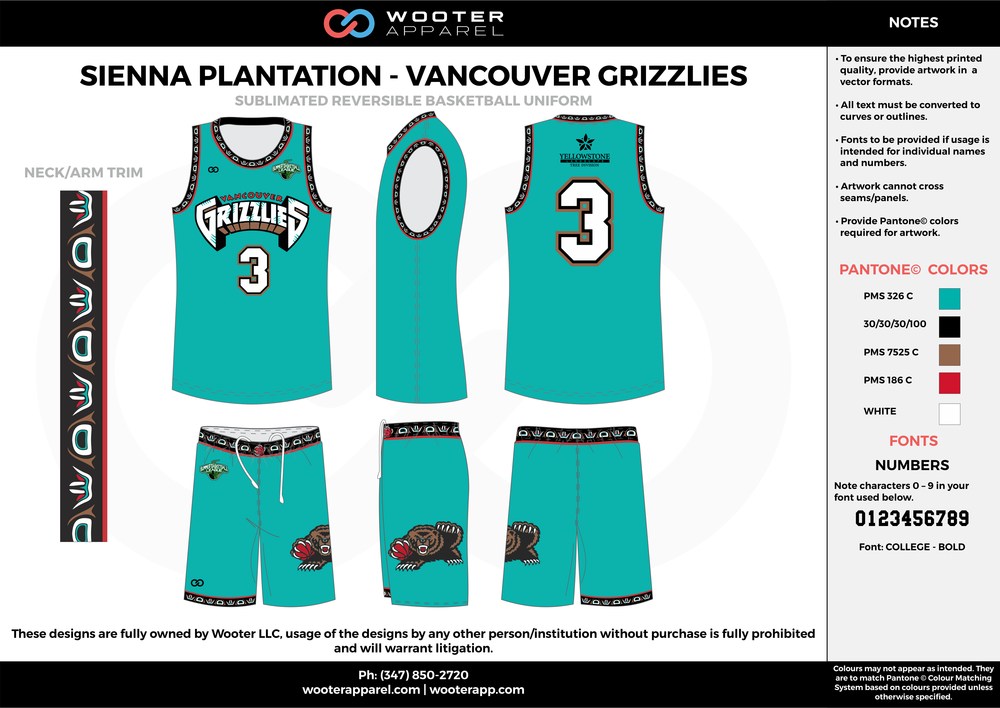 VANCOUVER GRIZZLIES water blue black red brown white Basketball uniforms jerseys shorts