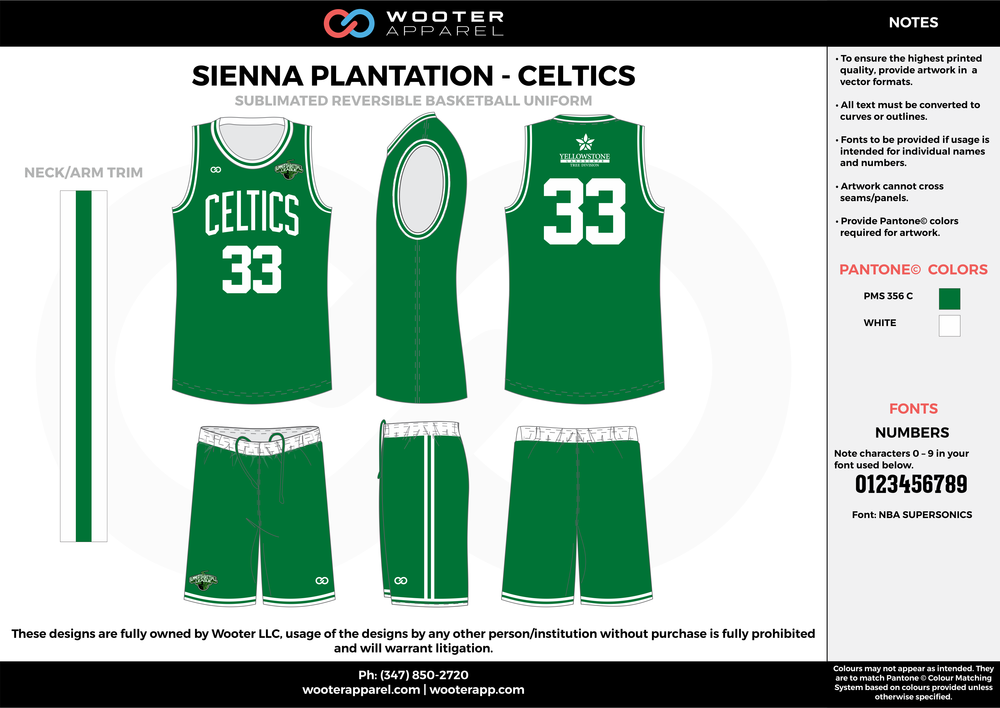 CELTICS green white Basketball uniforms jerseys shorts