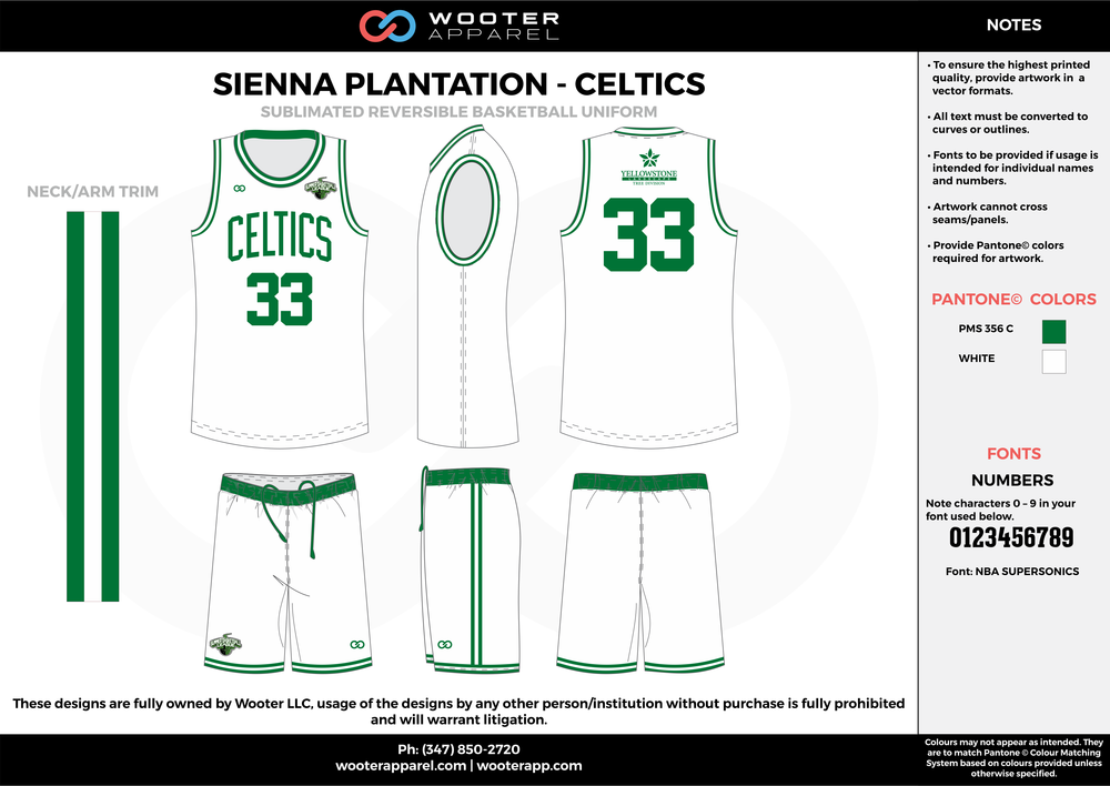 CELTICS white green Basketball uniforms jerseys shorts