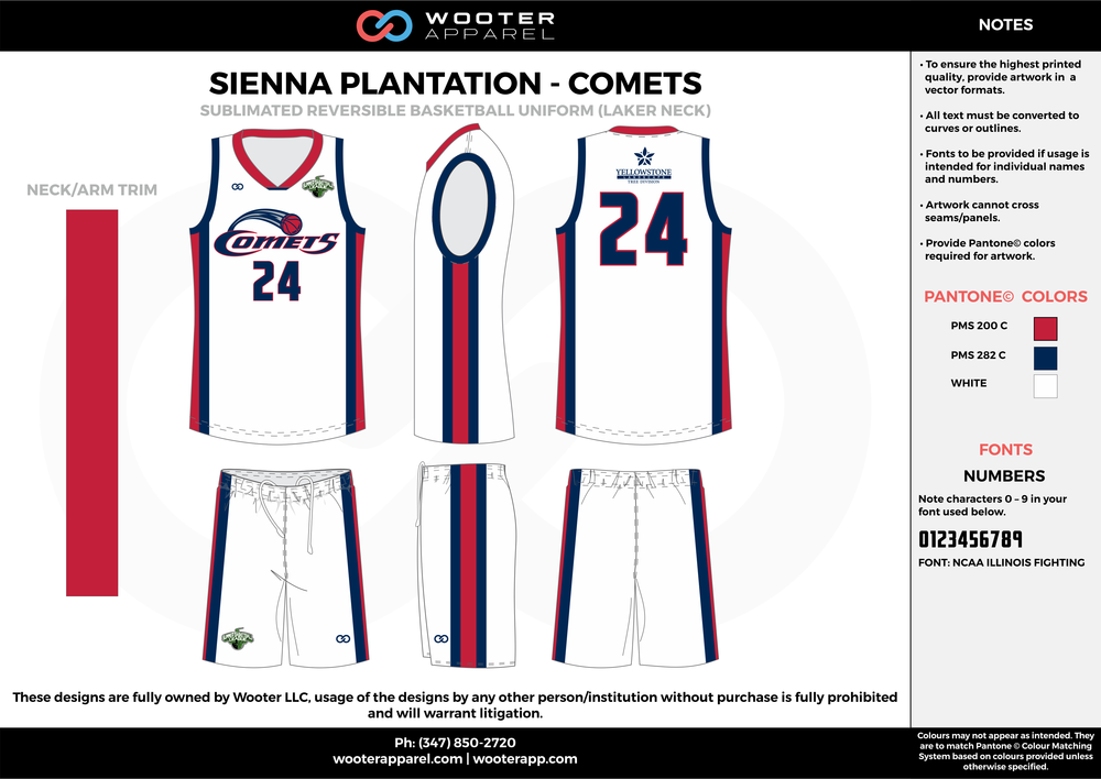 COMETS white red blue Basketball uniforms jerseys shorts