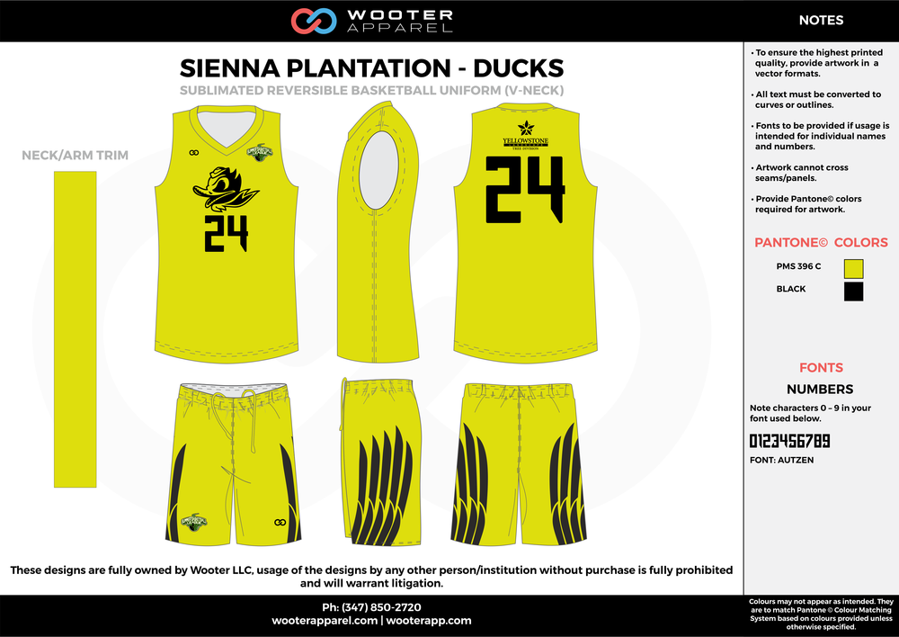 DUCKS yellow black Basketball uniforms jerseys shorts