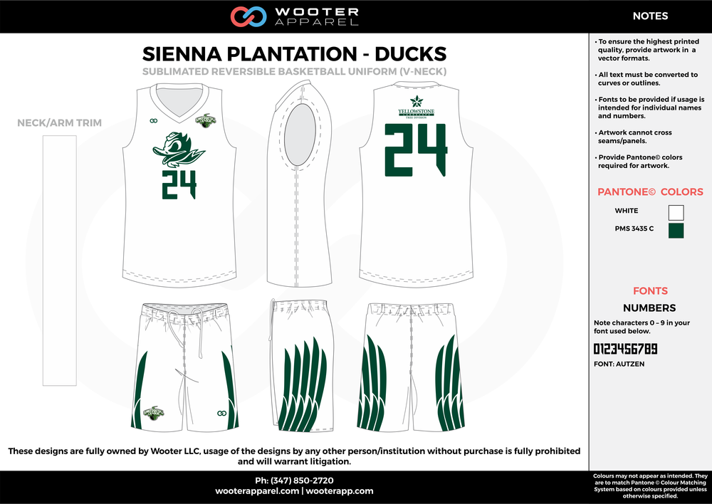 DUCKS white green Basketball uniforms jerseys shorts