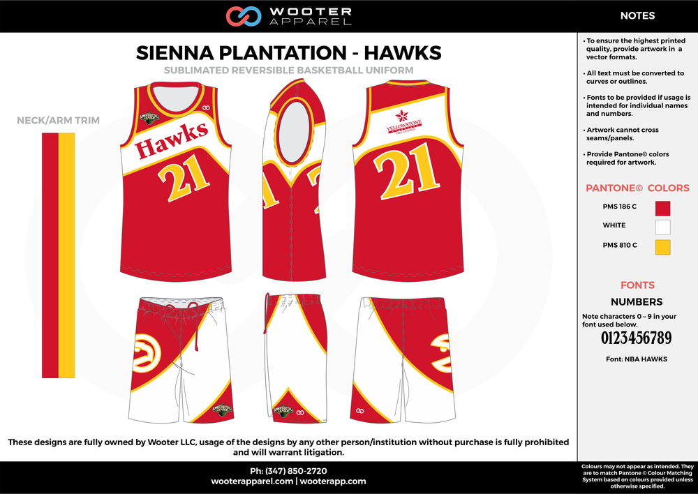HAWKS red white yellow Basketball uniforms jerseys shorts