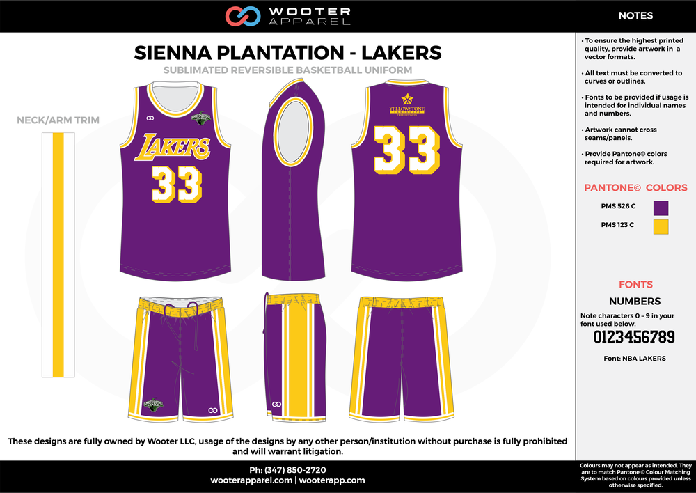 LAKERS purple yellow Basketball uniforms jerseys shorts