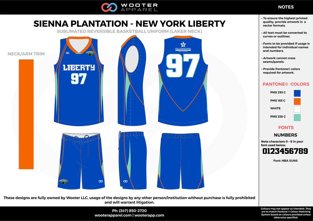 NEW YORK LIBERTY blue orange white Basketball uniforms jerseys shorts