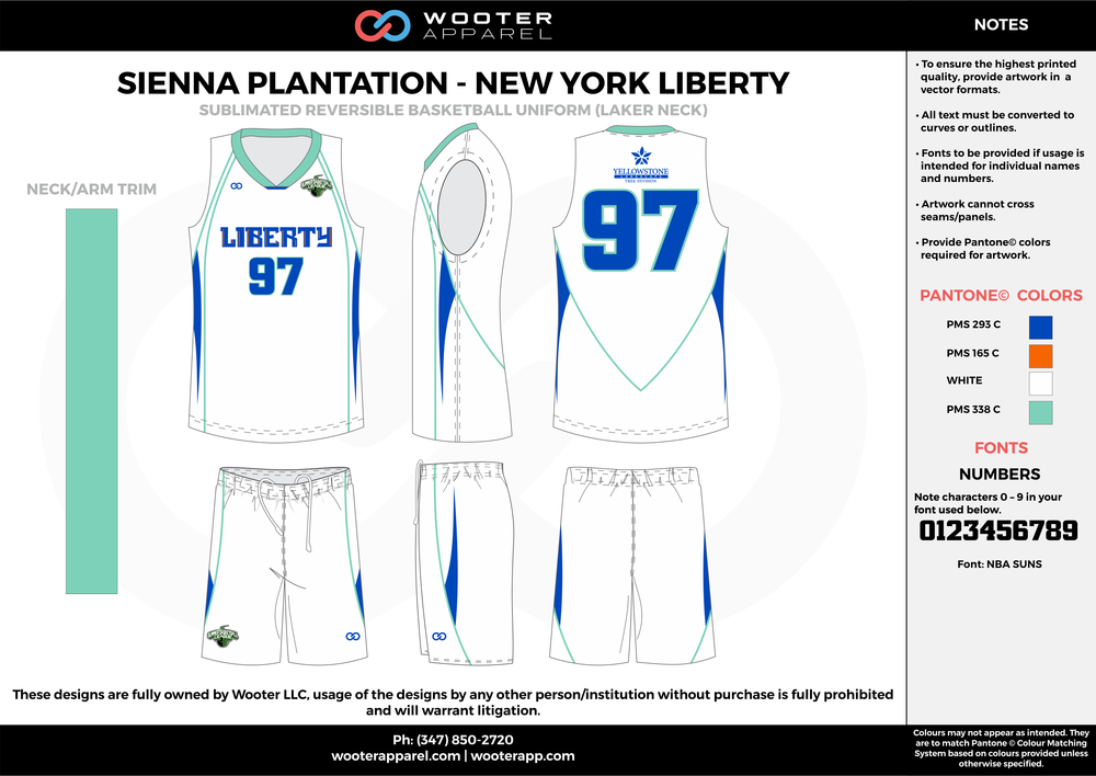 NEW YORK LIBERTY blue white mint green orange Basketball uniforms jerseys shorts