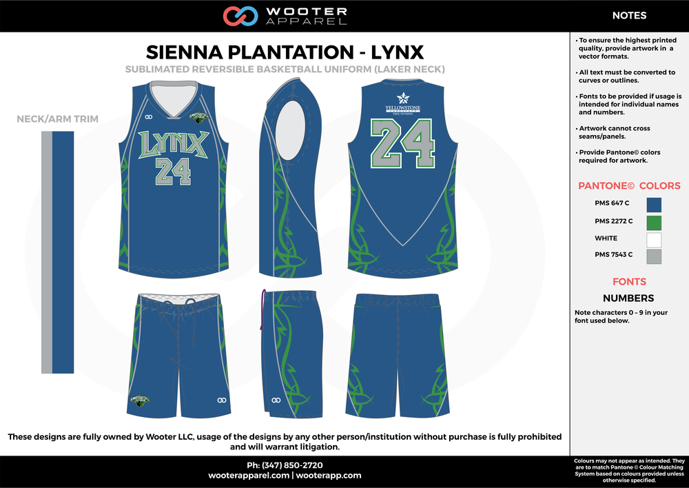 LYNX blue green gray white Basketball uniforms jerseys shorts