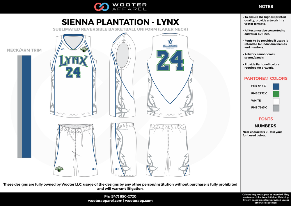 LYNX blue green white gray Basketball uniforms jerseys shorts