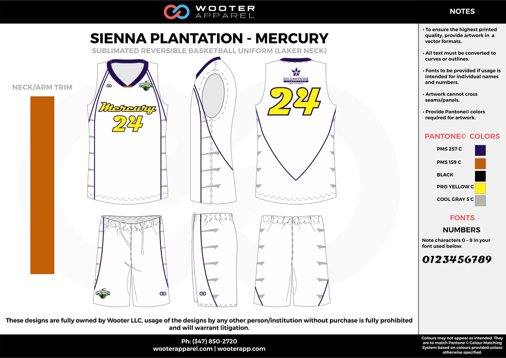 MERCURY white yellow gray black Basketball uniforms jerseys shorts