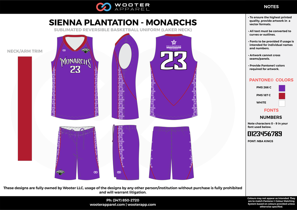MONARCHS purple maroon white Basketball uniforms jerseys shorts