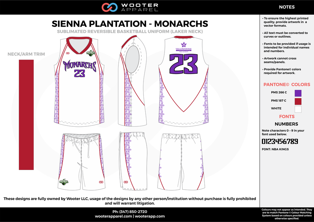 MONARCHS white red purple Basketball uniforms jerseys shorts