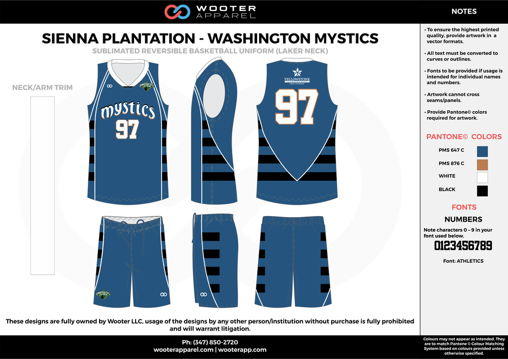 WASHINGTON MYSTICS blue black beige white Basketball uniforms jerseys shorts