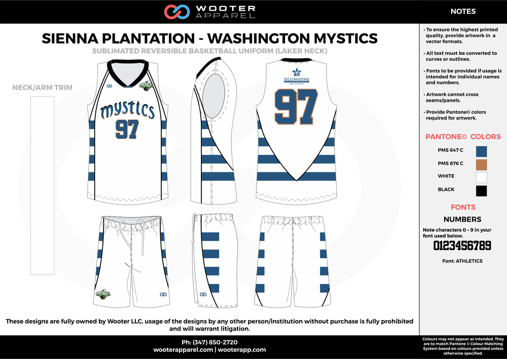 WASHINGTON MYSTICS white blue black Basketball uniforms jerseys shorts
