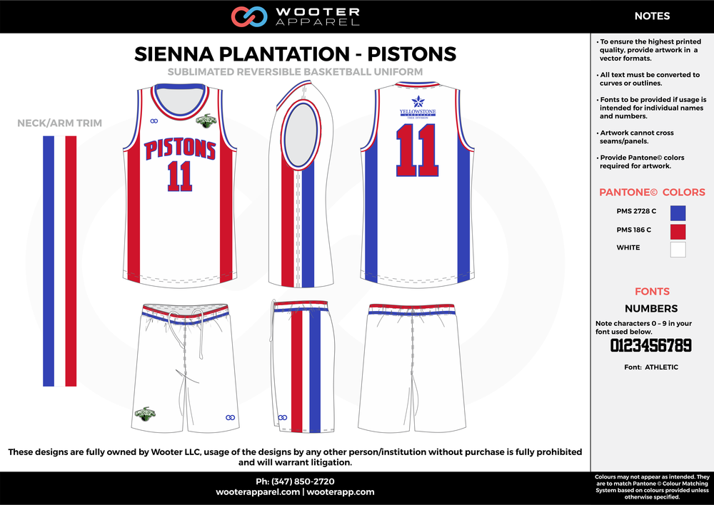 PISTONS white blue red Basketball uniforms jerseys shorts