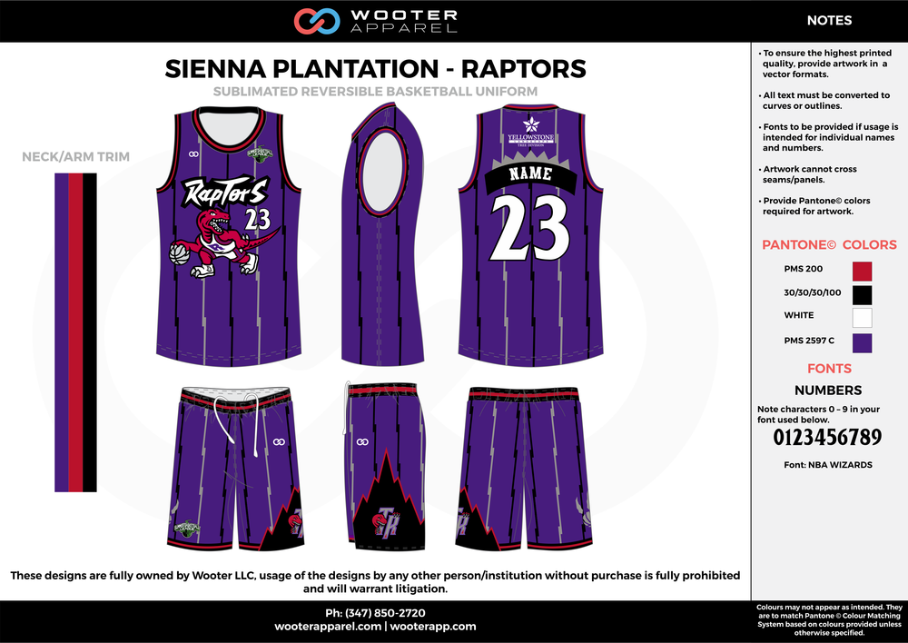 RAPTORS purple black white red Basketball uniforms jerseys shorts