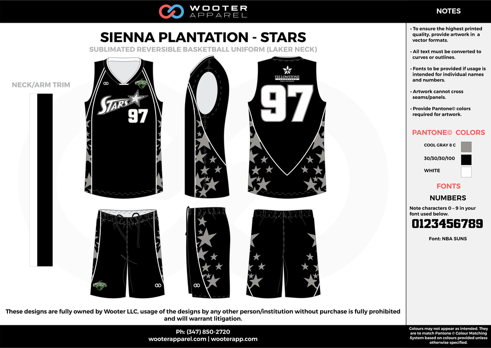 STARS black white gray Basketball uniforms jerseys shorts
