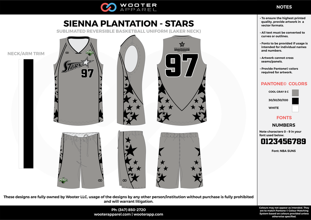 STARS gray black white Basketball uniforms jerseys shorts