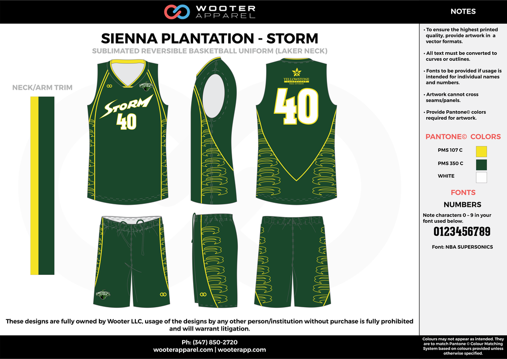 STORM green yellow white Basketball uniforms jerseys shorts