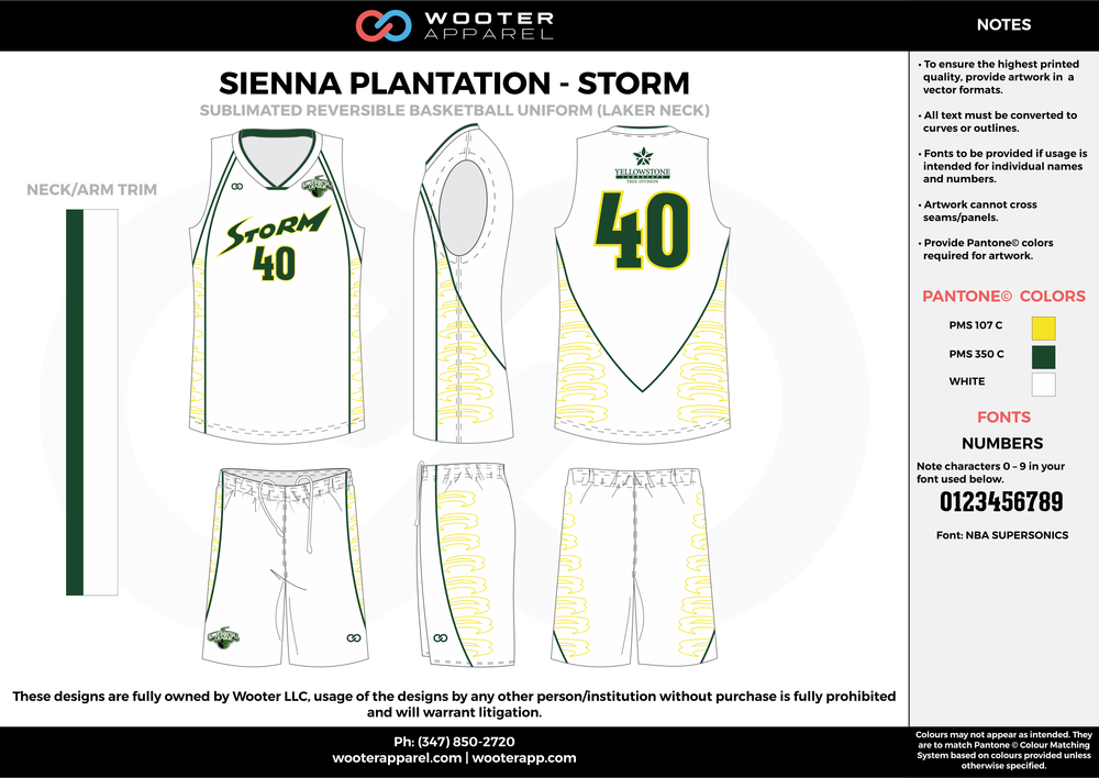 STORM yellow green white Basketball uniforms jerseys shorts
