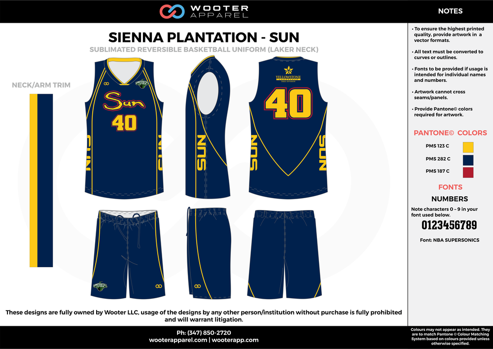 SUN blue yellow red Basketball uniforms jerseys shorts