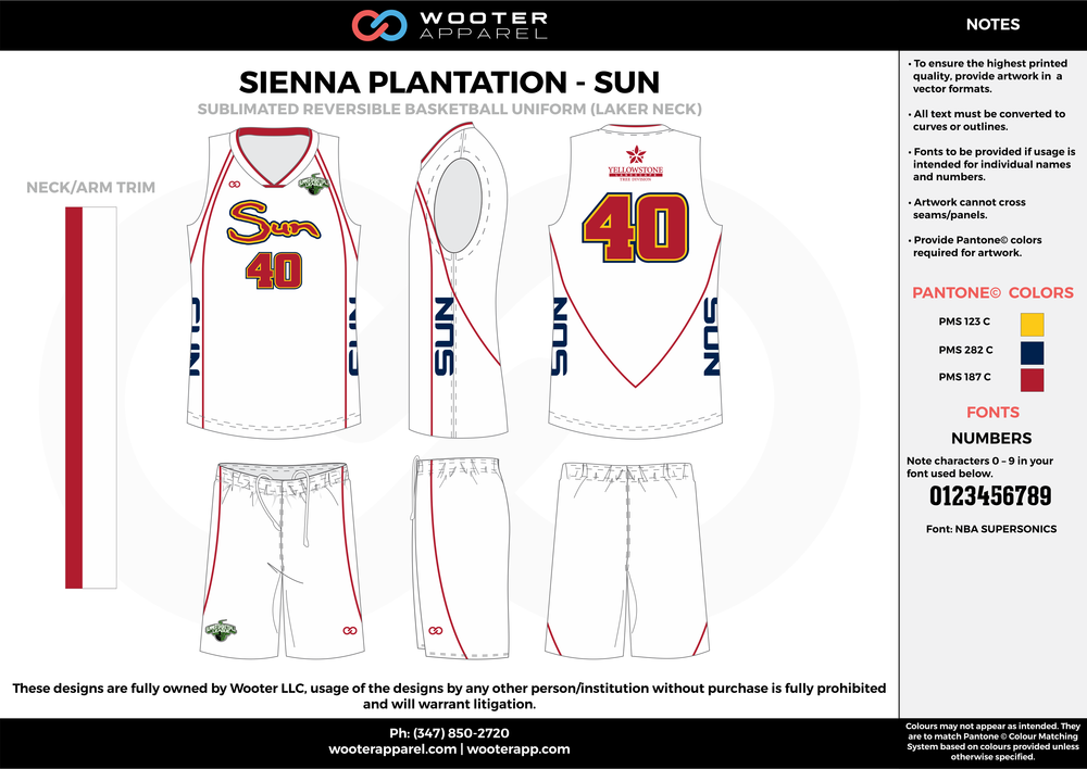 SUN white yellow blue red Basketball uniforms jerseys shorts